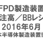 FPD製造装置 受注高/BBレシオ 2016年6月