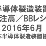 半導体製造装置 受注高/BBレシオ 2016年6月