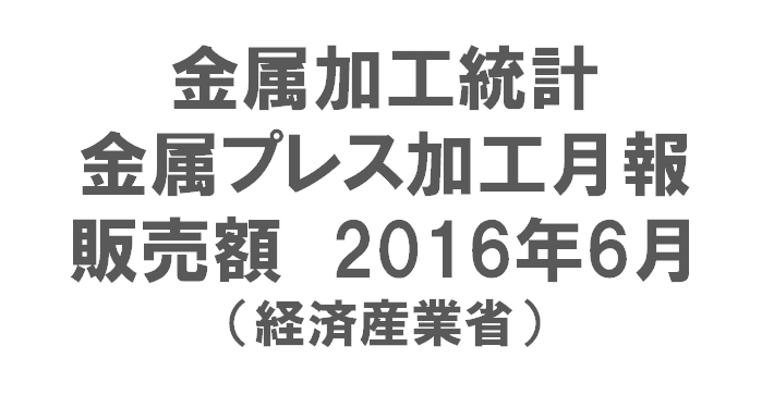 金属加工統計 金属プレス加工月報(販売額)2016年6月(経済産業省)